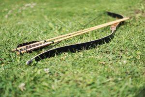Ein Jagdrecurvebogen mit Pfeilen im Gras.